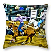 Team Ropers Throw Pillow