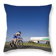 Team Time Trial Chasing A Tanker Truck Throw Pillow