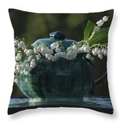 Teapot And Lily Of The Valley Throw Pillow