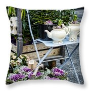 Teapots And Flowers Throw Pillow