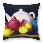 Teapots In Primary Colors Throw Pillow