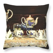 Teapots On Grundge Throw Pillow