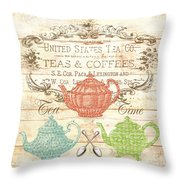 Teas And Coffees Sign Throw Pillow