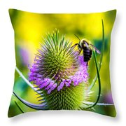 Teasel And Bee Throw Pillow