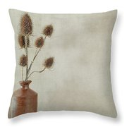 Teasels In Stone Jar Throw Pillow