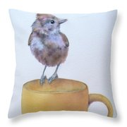 Teatime Titmouse Throw Pillow