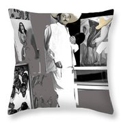 Ted Degrazia Painting Mural With Brush Mexico City C.1941-2013 Throw Pillow