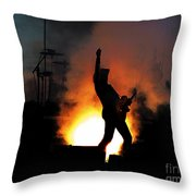 Ted Nugent On Fire Throw Pillow