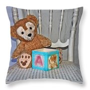 Teddy And Toy Box Throw Pillow