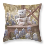 Teddy Bear And Texas Bluebonnets Throw Pillow