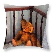 Teddy Bear In Crib Throw Pillow