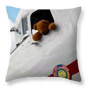 Teddy Bear Pilot Throw Pillow