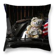 Teddy Bear Ridin' On Throw Pillow by Christine Till
