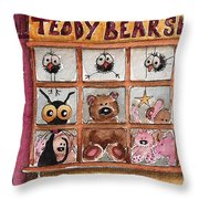 Teddy Bear Shop Throw Pillow