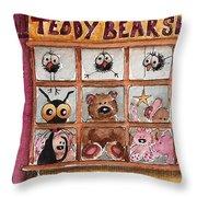 Teddy Bear Shop Throw Pillow by Lucia Stewart