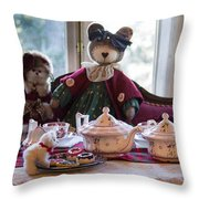 Teddy Bear Tea Party Throw Pillow