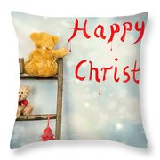 Teddy Bears At Christmas Throw Pillow