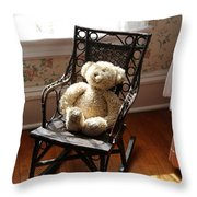 Teddy In Old Fashioned Rocker Throw Pillow