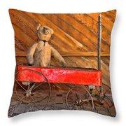 Teddy Takes A Ride Throw Pillow