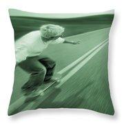 Teenager Skateboarding Down Road Throw Pillow