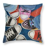 Teens In Converse Tennies Throw Pillow