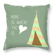 Teepee Art Arrows Home Is Where The Heart Is Throw Pillow