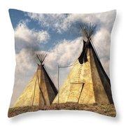 Teepees Throw Pillow by Daniel Eskridge
