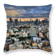 Tel Aviv City Skyline  Throw Pillow