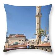 Tel Aviv Old Town Street Throw Pillow