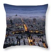 Tel Aviv Under Fog  Throw Pillow
