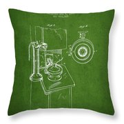 Telephone Patent Drawing From 1898 - Green Throw Pillow