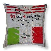 Telephone  Usa Mexico One Dollar Four Minutes Booth Us Mexico Flags Eloy Arizona 2005 Throw Pillow