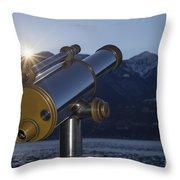 Telescope And Sunrise Throw Pillow
