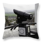 Telescope Near The Entrance Of Stirling Castle Throw Pillow