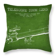 Telescope Zoom Lens Patent From 1999 - Green Throw Pillow