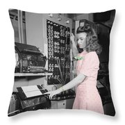 Teletype Girl Throw Pillow