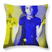 Teller / Early Shadows - Blue And Yellow  Throw Pillow