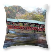 Tellico Bridge In Fall Throw Pillow by Regina McLeroy