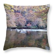 Tellico River In Fall Throw Pillow