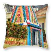 Colorful Temple - Rishikesh India Throw Pillow