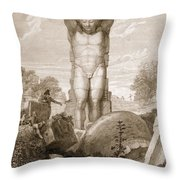 Temple At Agrigentum, Sicily Throw Pillow by Charles Robert Cockerell