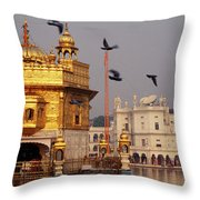 Temple At The Waterfront, Golden Throw Pillow