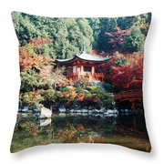 Temple Behind A Pond, Daigo-ji Temple Throw Pillow