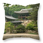 Temple By Lake And Forest Seoul South Korea Throw Pillow