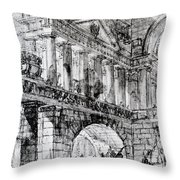 Temple Courtyard Throw Pillow by Giovanni Battista Piranesi