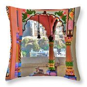 Colorful Temple Entrance - Omkareshwar India Throw Pillow