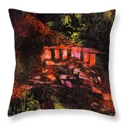 Temple In The Woods Throw Pillow