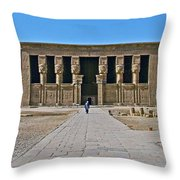 Temple Of Hathor Near Dendera-egypt Throw Pillow by Ruth Hager