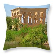 Temple Of Isis Among The Trees Throw Pillow