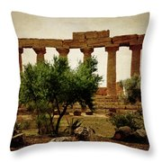 Temple Of Juno Lacinia In Agrigento Throw Pillow